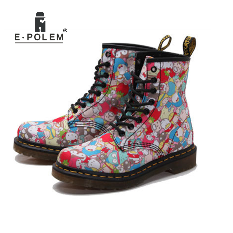 2018 new Multicolor Canvas martin boots Martin Shoes Motorcycle Boots women Hello Kitty Women Cat Print Short Spring Boots shoes недорго, оригинальная цена