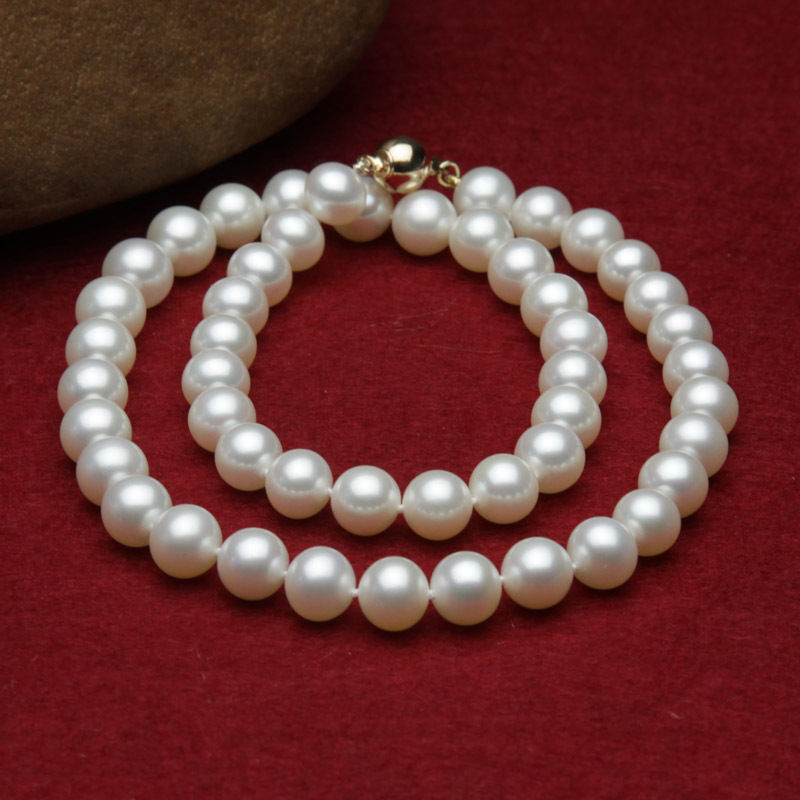 deliver Nobility Woman jewelry fashion 9-10mm white fresh water pearls necklace silver-jewelry