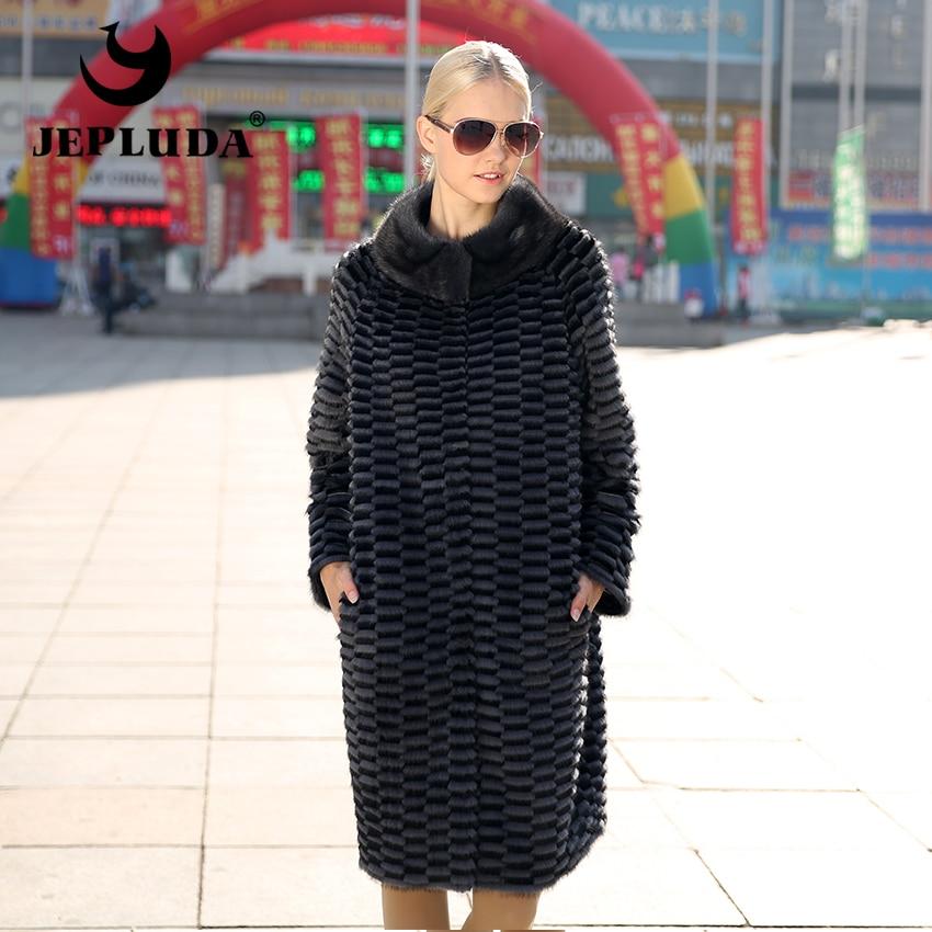 JEPLUDA Real Mink Fur Coat Winter Women's Medium Mandarin Collar Rex Rabbit and Mink Fur with Down Double Sided Real Fur Coat