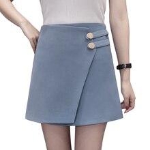 Irregular split high waist slim women's skirt 2018 new a line pacthwork elegant ladies office skirts shorts harajuku mini faldas