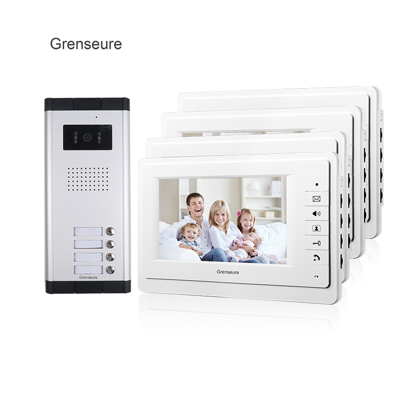 FREE SHIPPING Brand 7 Video Intercom Entry Door Phone System 4 Monitor 1 HD Doorbell Camera for 4 Household Apartment Wholesale