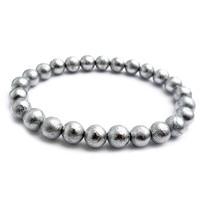 Подлинный природный Gibeon Железный метеорит круглый шарик посеребренные модные браслеты для женщин и мужчин 7 мм