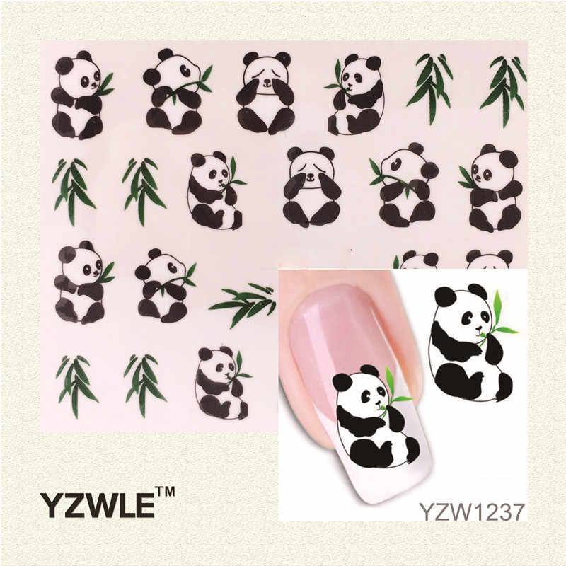 WUF 1 Sheet New Design 3D Water Transfer Printing Nail Art Sticker Decals Cute Panda DIY Nail Decoration Styling Tools