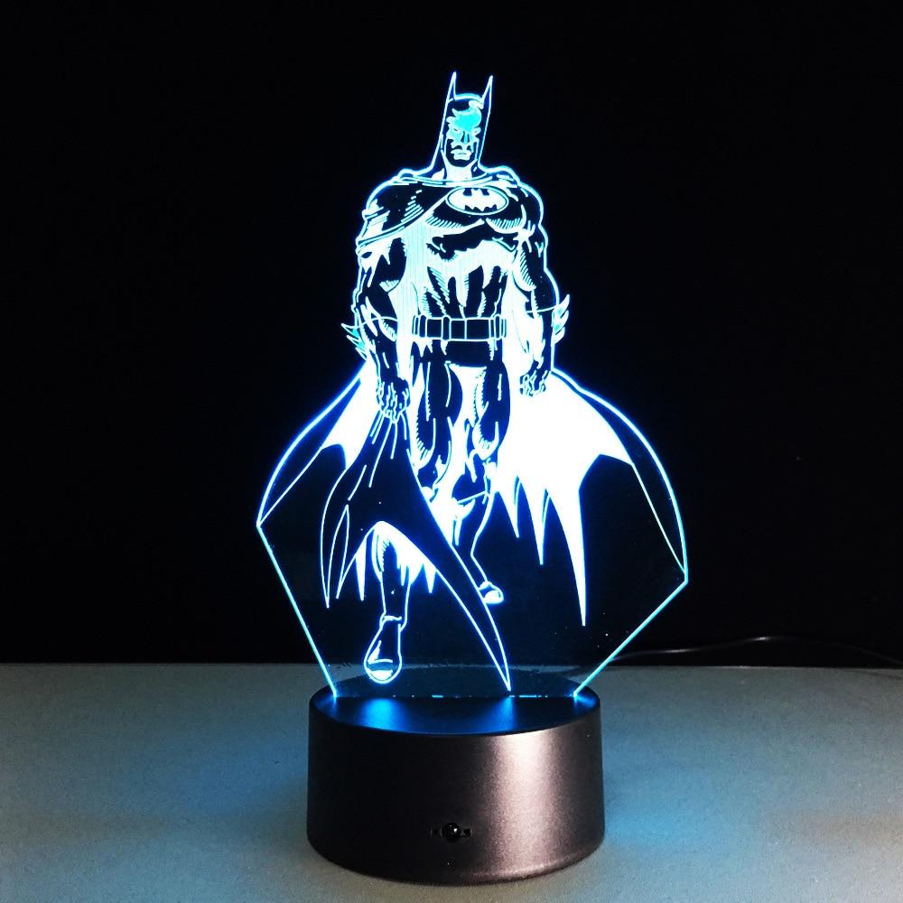 Batman: The Dark Knight Returns Bruce Wayne DC Comics 3D With LED Light Action Figure Avengers Night Lamp Model Toy L1136
