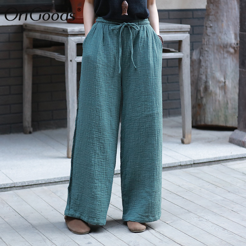 OriGoods Cotton Linen   Wide     leg     Pants   Women 2019 Summer New Plus size   Pants   Loose Elastic waist Women   Wide     leg   Trousers C217