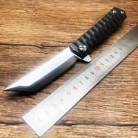 BMT Twosun Tanto cuchillo plegable D2 hoja de acero mango cuchillos tácticos Camping supervivencia caza bolsillo cuchillo EDC herramientas