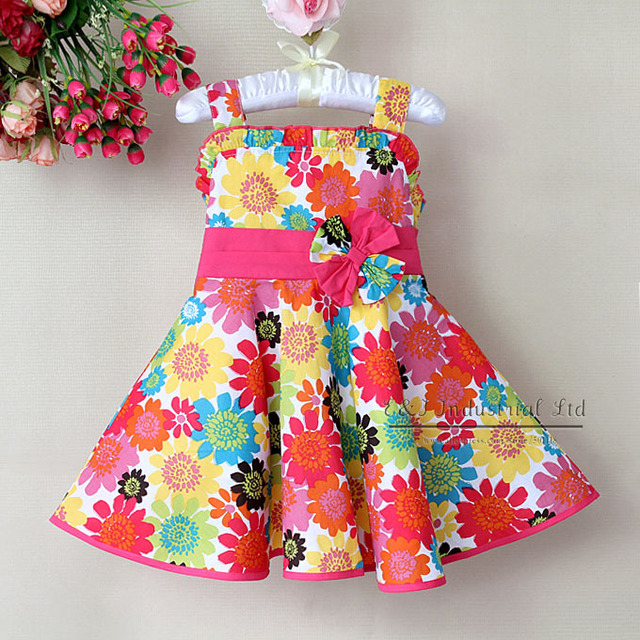 Free Shipping 2013 Newest Summer Children Dress Colorful Beautiful Flower Girls Princess Dresss For Kids Clothes 6 PCS/LOT