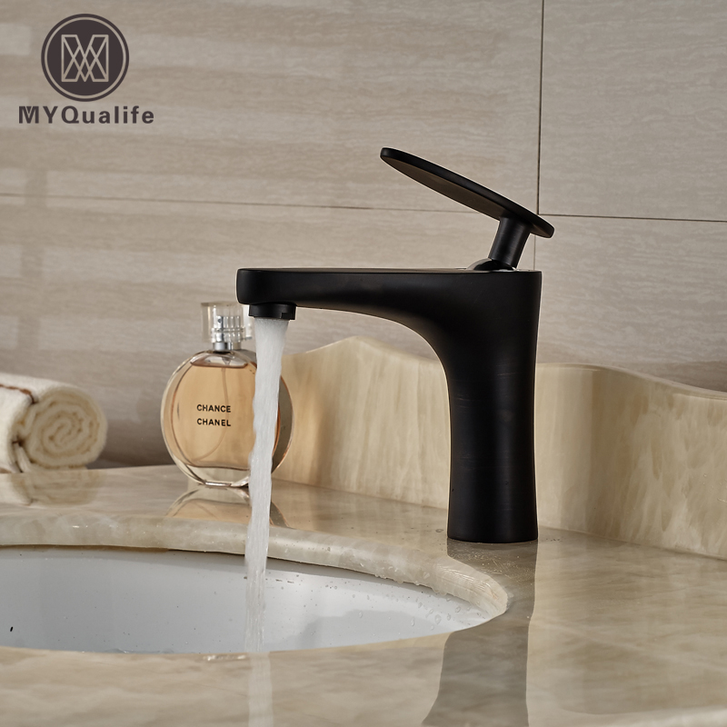 Oil Rubbed Bronze Bathroom Basin Faucet Vesse Sink Mixer Tap Single Handle Free Shipping free shipping single hole basin faucet oil rubbed bronze finished bathroom sink mixer taps with pop up drain