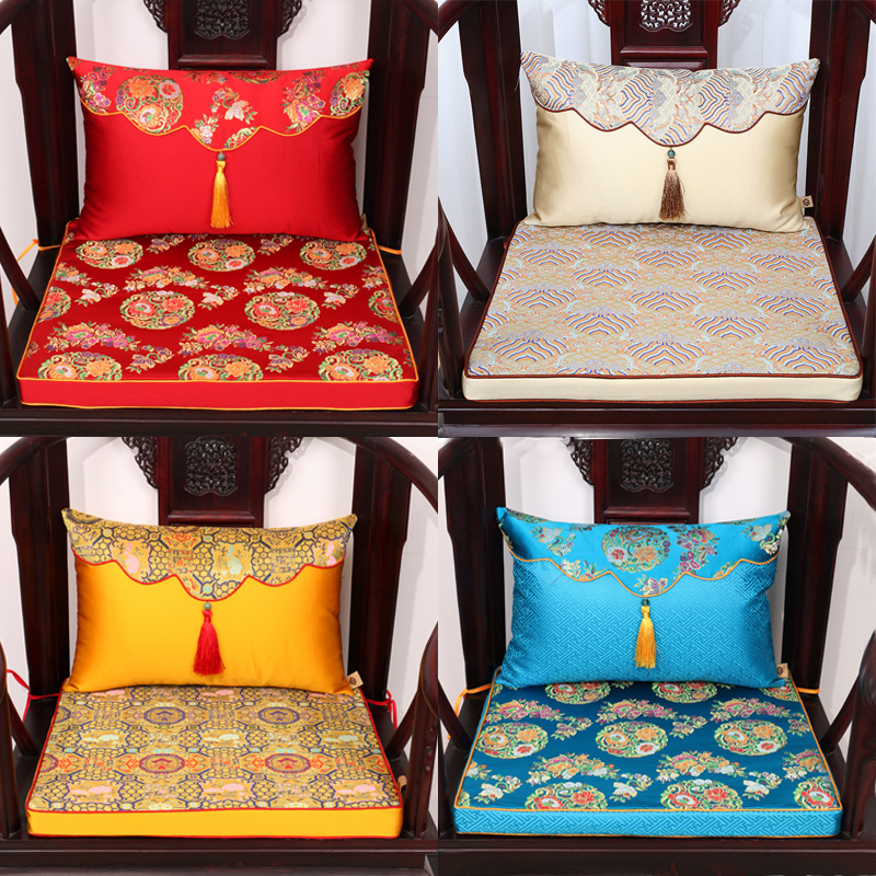 Vintage Tassel Mulberry Silk Cushion Chinese Thick Chair Seat Decor Sofa Mat Seating Lumbar Pillow Back