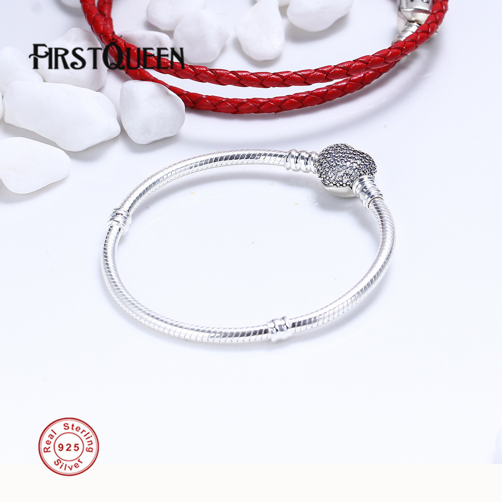 FirstQueen 925 Sterling Silver Bracelet w Signature Clasp Fit 4 3mm Charms Beads Anniversary DIY Gift