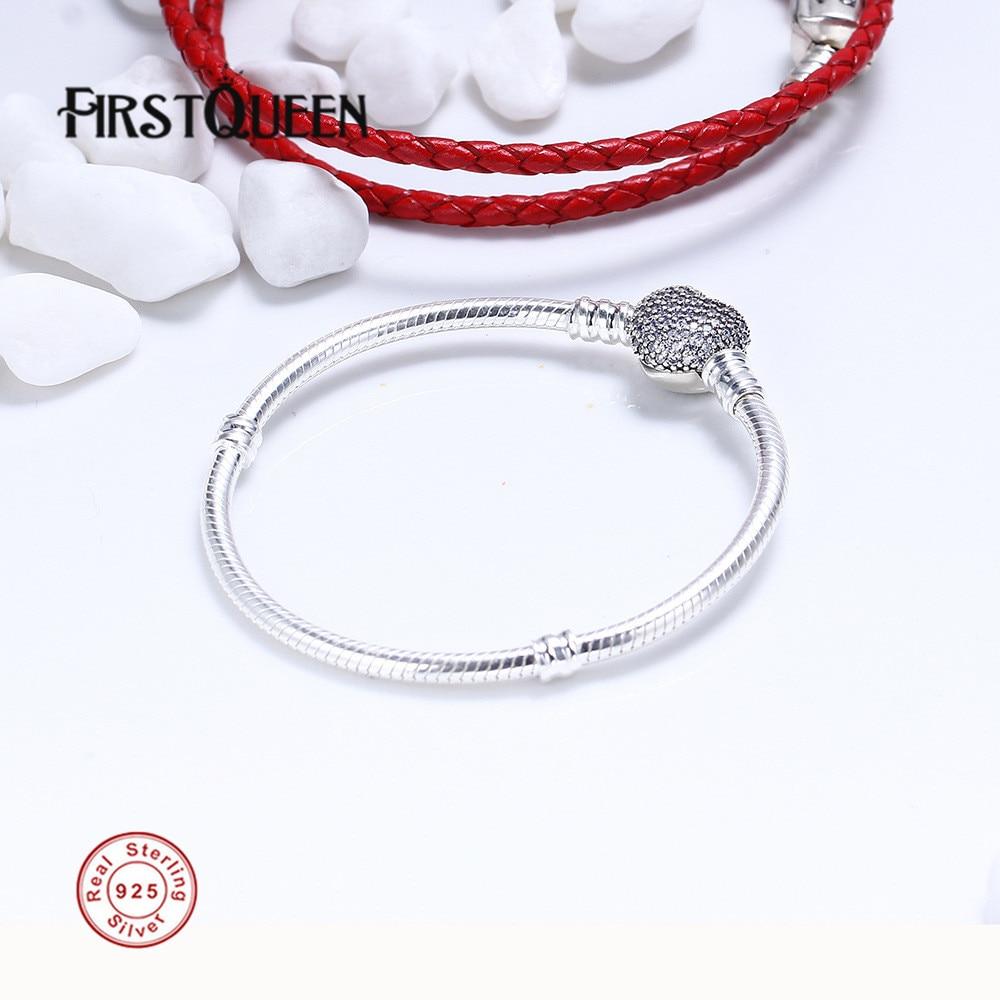 FirstQueen 925 Bracelet en argent Sterling avec fermoir Signature Fit 4.3mm breloques perles anniversaire bricolage cadeau pour la fabrication de bijoux