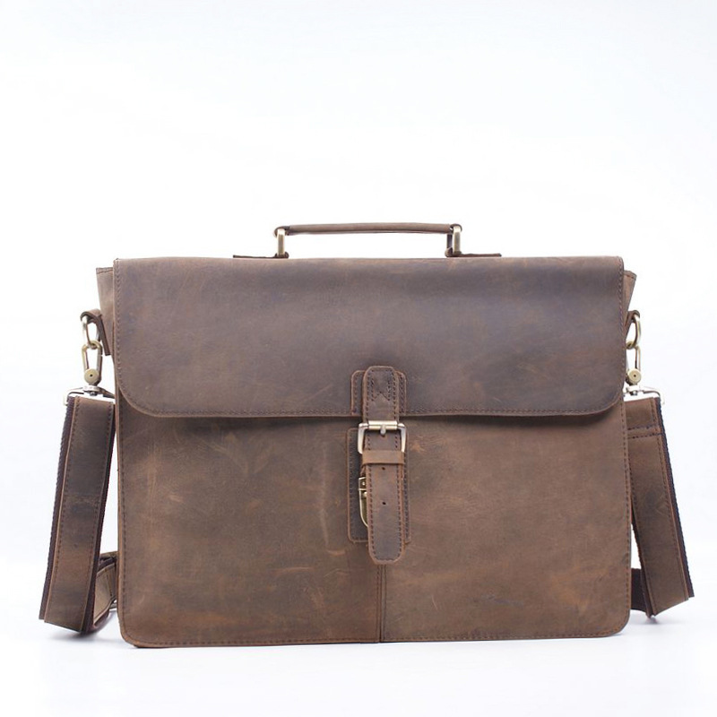 Retro Crazy Horse Cowhide Genuine Leather Men Bag Briefcase Handbag  Business Zipper Laptop Messenger Shoulder Bags Men's Bag joyir men briefcase real leather handbag crazy horse genuine leather male business retro messenger shoulder bag for men mandbag