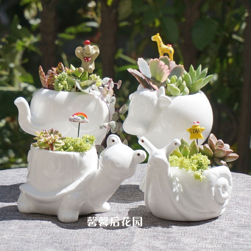 Small Animal Ceramic Flowerpot Super White Porcelain Elephant Snail Tortoise Garden Mini Pot Planter Ceramic Pot Desktop Decro