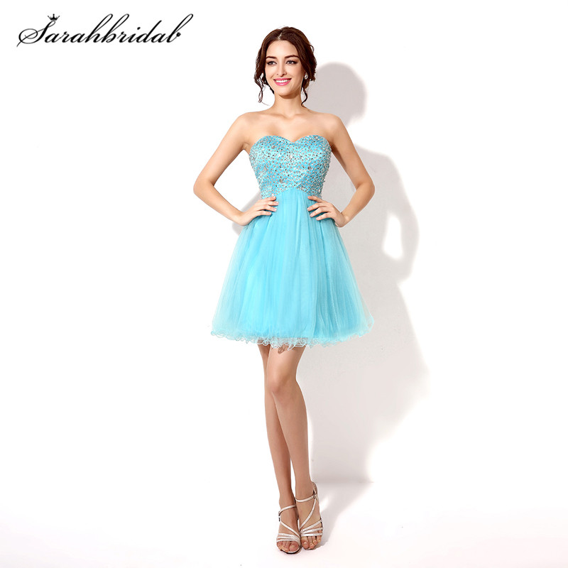 Youthful Short Homecoming Prom Dresses Beaded Tulle Sweetheart Cheap Graduation Cocktail Party Gowns Back Lace Above