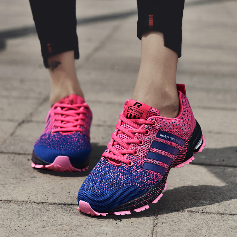 Women Running Shoes Grils Sneakers Walking Jogging Tracking Work Footwear Air Flat Fly Knit Breathable Light Basket Sport Shoes