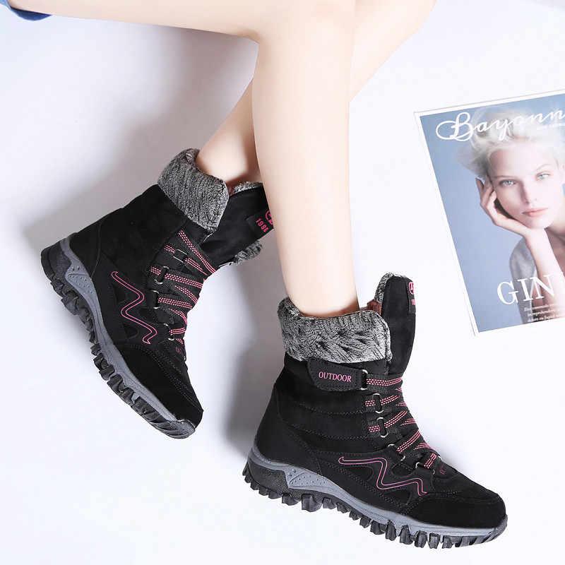 Bộ Sạc Pinsen Thương Hiệu Thời Trang 2020 Giày Bốt Nữ Da Lộn Chống Nước Mùa Đông Giày Giữ Ấm Buộc Dây Ủng Chaussures femme