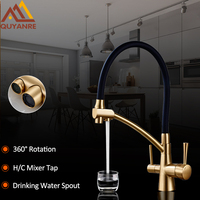 Quyanre Kitchen Sink Faucet Torneira Purified Water Faucet Dual Handles Mixer Tap Drinking Water Filter Faucet