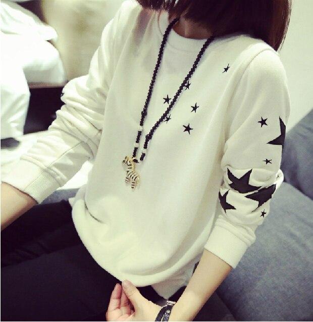 456be7da42 Pretty cloth women autumn winter sweatershirt long sleeved T-shirt girl  black white thin blouse sweater shirt cool casual tops