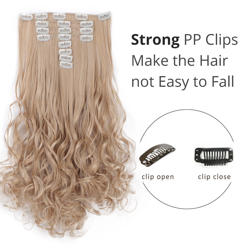 AISI BEAUTY 8 Pcs/set Full Head Long Wavy Synthetic 18 Clips In Hair Extensions For Women Hairpieces Blonde Black Brown