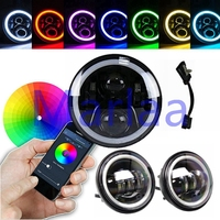 7 LED RGB Halo Angel Eye Headlights Bluetooth App Controlled & 4.5 inch white halo led driving light for Motorcycle