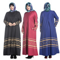 Novo Estilo de Moda Tarja Plus Size Islam Abaya Muçulmano Feminino O-pescoço Zipper Vestido de Manga Longa Roupas Femininas Tradicionais