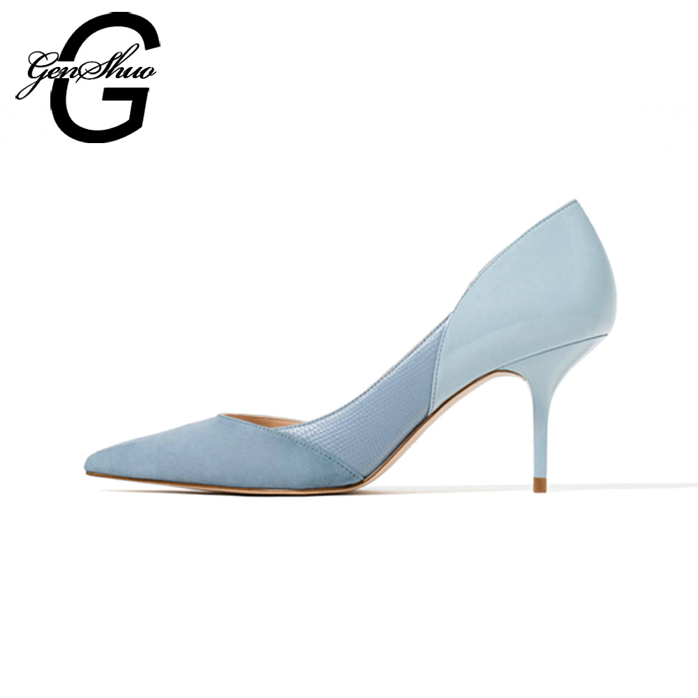 GENSHUO Mixed Color Classic Women High Heels Skor 7cm Kvinna Simple Women Pumps Heels Dress Skor Liten Storlek 34-40