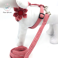 Red Plaid Dog Harness with Flower and Basic Dog Leash Adjustable Buckle Pet Supplies s,m,l