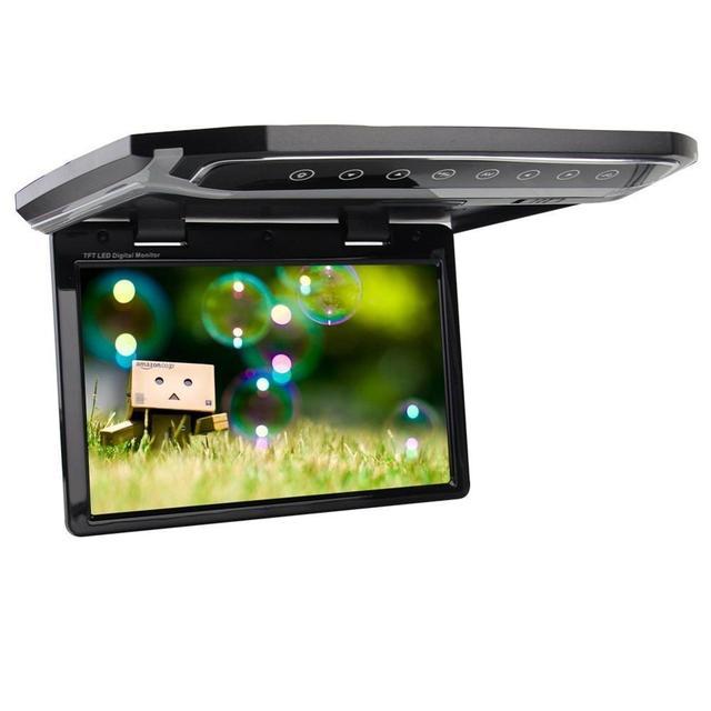"""12.1 """"Teto Do Carro Montado Overhead Flip Down MP3 MP4 Media Video jogador HD LED Monitor de Visão Largo Carro Flip Drop Down Overhead"""