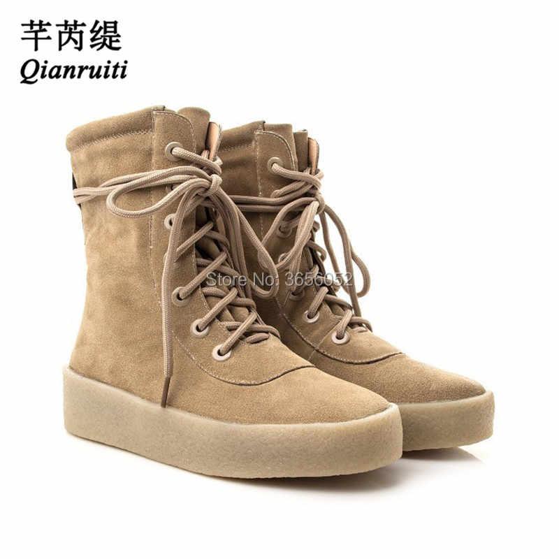 24ac6a271091 Qianruiti botas mujer из искусственной замши высокие Обувь женские большие  размеры 35–45 толстой плоской