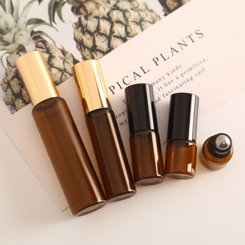 6pcs 1ML 2ML 3ML 5ML 10ML Amber Roll On Roller Bottle For Essential Oils Refillable Perfume Bottle Deodorant Containers