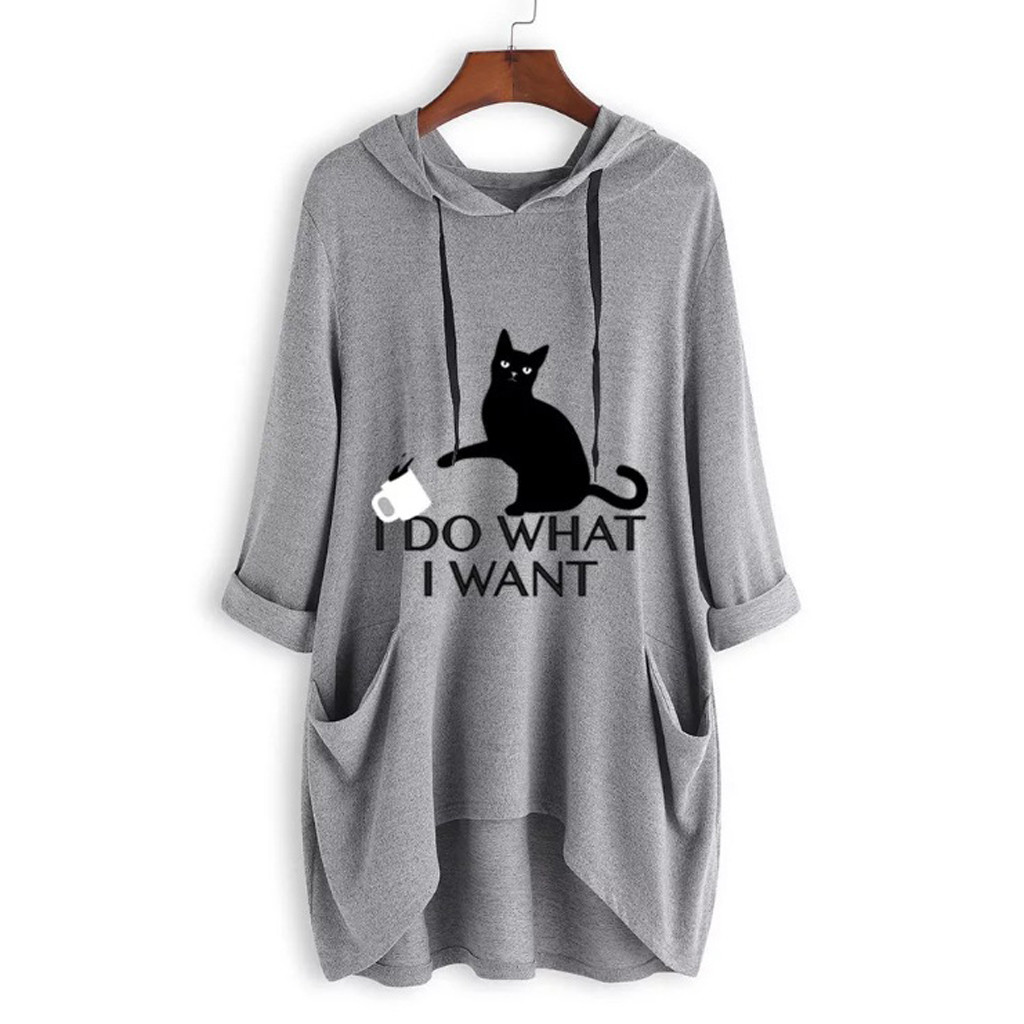 Plus Size Black Cat Long Hooded T-Shirt