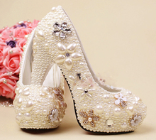 Luxury full White Pearls Formal Dress Shoes lady's formal Jeweled Women's Bridal Evening Wedding Prom Party Bridesmaid shoes