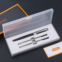 OASO S16 Luxe Schrijven Briefpapier Zwart en Zilver Teken Rollerball Pen met Twee Zwarte Inkt Refill Gift Set Pennen Gratis verzending