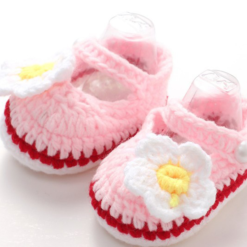 2017 Newborn Baby Socks Spring and Autumn Princess Knitting Cute Cartoon Handmade Crochet Flower Baby Shoes
