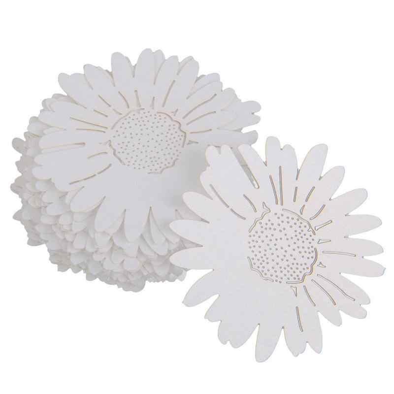 50pcs/Set Daisy Flower Style Laser Cut Paper Place Card / Escort Card / Cup Card/ Wine Glass Card For Wedding Decoration Favor