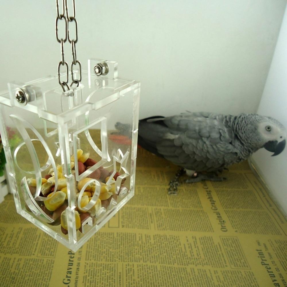 Contemplative 1 Pcs New Parrot Bird Cage Feeder Acrylic Hang Foraging Toys Pet Treat Hunt Macaw Cockatoofunny Pet Birds Toys Supplies Pet Products Bird Supplies