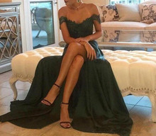2019 Evening Gown Hunter Green Chiffon High Split Cutout Side Slit Lace Appliqued Top Sexy Off Shoulder Hot Formal Prom Dress cutout side fit