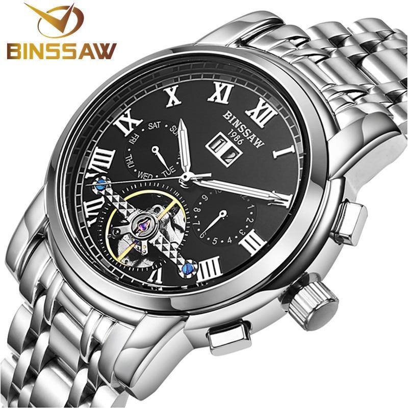 BINSSAW 2017 Hommes montres Automatique mécanique tourbillon montre-bracelet d'affaires Décontractée montres marque De Luxe en acier inoxydable montre