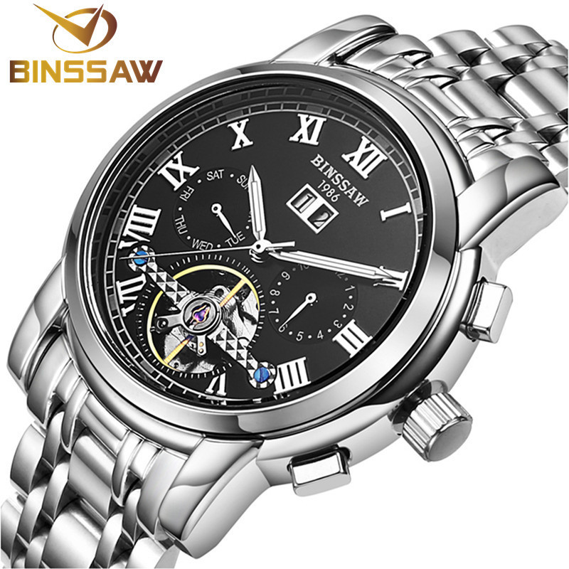 BINSSAW 2017 Men watches Automatic mechanical tourbillon Casual business wristwatch relojes brand Luxury stainless steel watch top luxury brand men watches automatic double tourbillon mechanical wristwatch stainless steel strap blue dial binger b 8606a