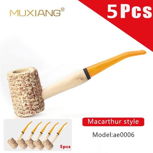 5 Pcs Macarthur Fatti A Mano in stile Pannocchia di Mais Naturale Supporto di Sigaretta Tubo di Fumo di Tabacco Tubo di ae0006