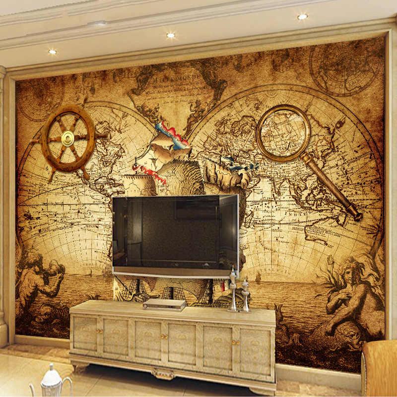 Ностальгический плакат в стиле ретро, 3D обои для комнаты, настенная бумага на заказ, Нетканая настенная бумага, Декор, навигационная карта мира плавания, настенная живопись