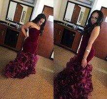2019 Burgundy Long Mermaid Prom Dresses Rose Floral vestidos de gala Sweetheart Velvet Plus Size Formal Party Gown Evening dress