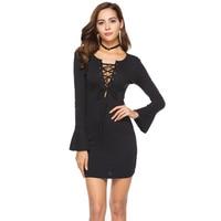 Plus Size Knitted Bandage Dress 2018 Long Sleeve Sexy V Neck Spring Autumn Bodycon Sheath Club