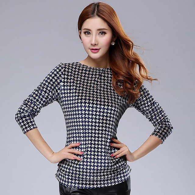 2015 Autumn Spring Plus Size 4XL 5XL Women Long Sleeve Tops Tees Large Size T Shirt  Female Plaid Basic Shirts Peluche Velvet