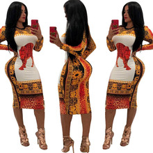 NiceMix New Arrival African Dashiki Dress For Women Traditional Clothing Sexy Printing Polyester Africa