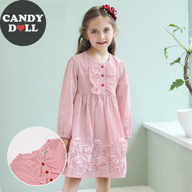 746055b3c6e CANDYDOLL Girl Children s Autumn Dress Classic Round Neck Polka Dot Kids  Princess Cotton Dresses Comfortable Children s Clothes