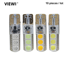 10pcs t10 w5w 12V 24v led interior car truck bulb lights canbus super 5050 leds 1W IP68 silicone Auto Signal lamp orange white