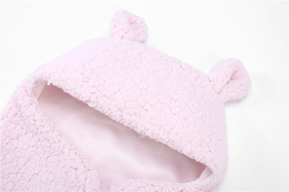 Yeedison Autumn Winter Envelope For Newborns Solid Warm Baby Sleeping Bag Coral Fleece Infant Swaddle Blanket Hooded Footmuff (17)