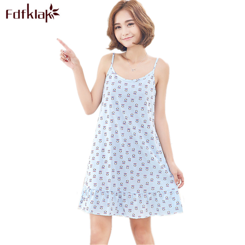 Fdfklak Sexy Sleeveless Short Nightgowns Female Plus Size Womens Night Dresses Print Nightdress Summer Girls Nightshirt 3XL