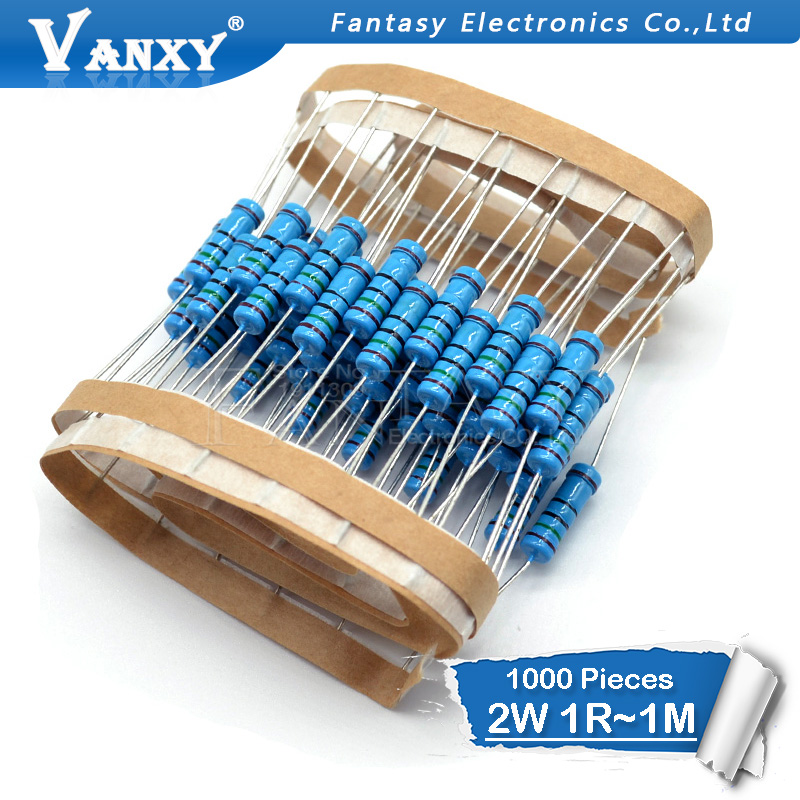 1000pcs 2W Metal film resistor 1 1R 1M 2 2R 4 7R 10R 22R 47R 100R